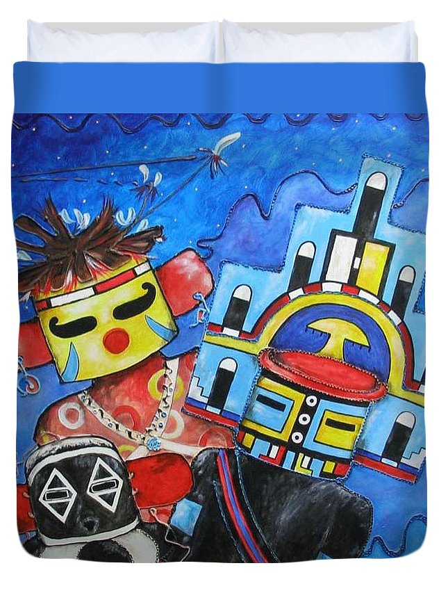 Native Duvet Cover featuring the painting Kachina Knights by Elaine Booth-Kallweit