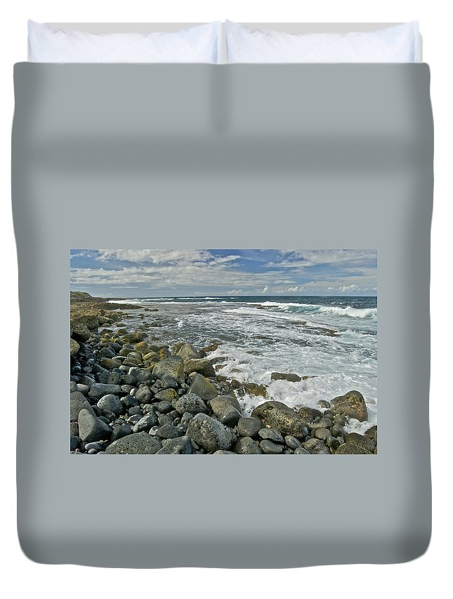 Hawaii Duvet Cover featuring the photograph Kaena Point Shoreline by Michael Peychich