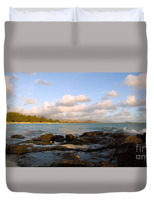 Bay Duvet Cover featuring the photograph Kailua Bay Sunrise by Dana Edmunds - Printscapes