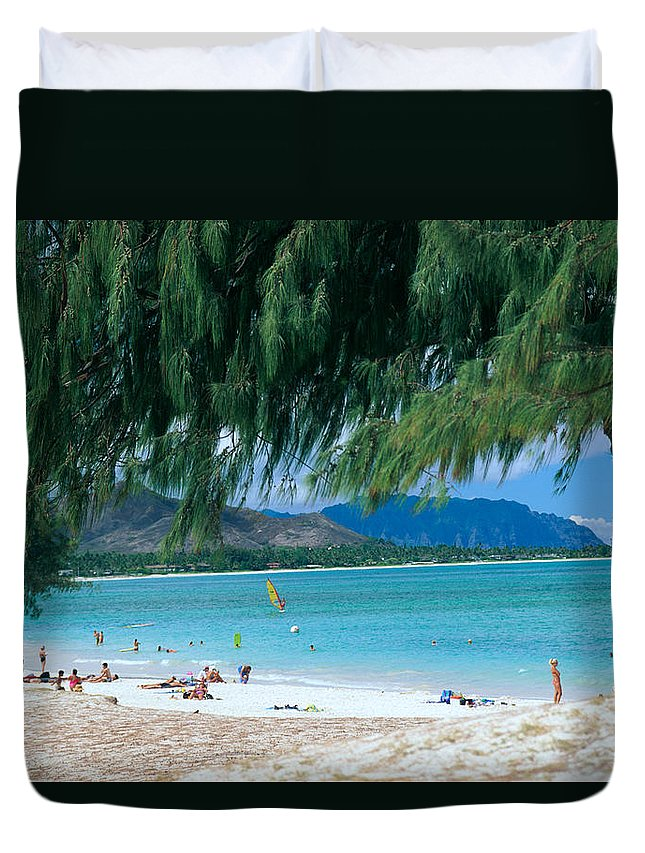 Active Duvet Cover featuring the photograph Kailua Beach Park by Peter French - Printscapes