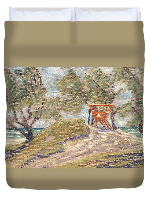Art Duvet Cover featuring the pastel Kailua Tower 8 by Patti Bruce - Printscapes