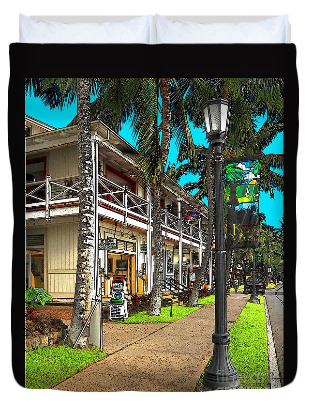 Kailua Duvet Cover featuring the photograph Kailua Village - Kona Hawaii by James Eddy