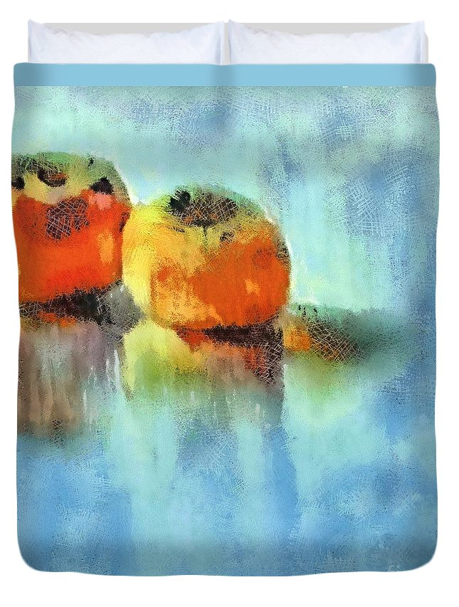 Fruits Duvet Cover featuring the pastel Kaki Couple by Dragica Micki Fortuna