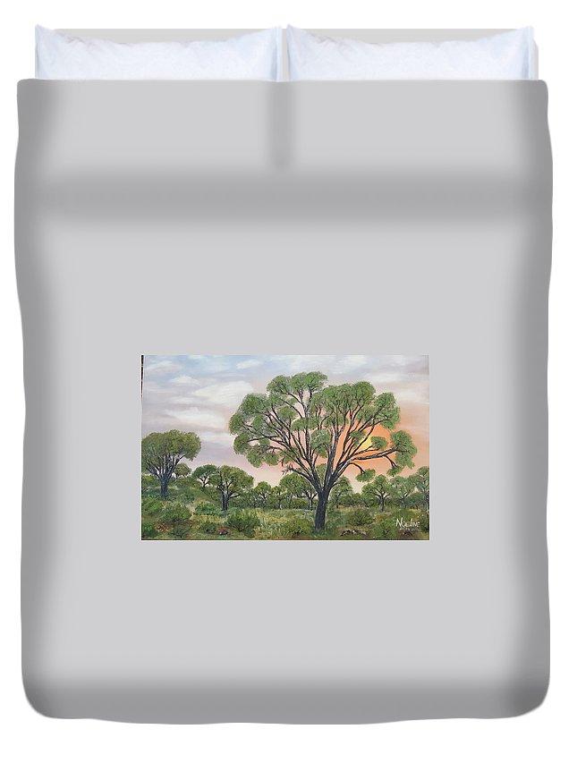 Landscape Duvet Cover featuring the painting Kalahari by NOELINE Du Toit