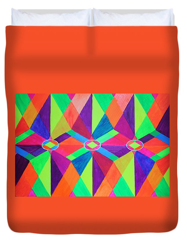 Kaleidoscope Duvet Cover featuring the painting Kaleidoscope Wise by Ann Sokolovich
