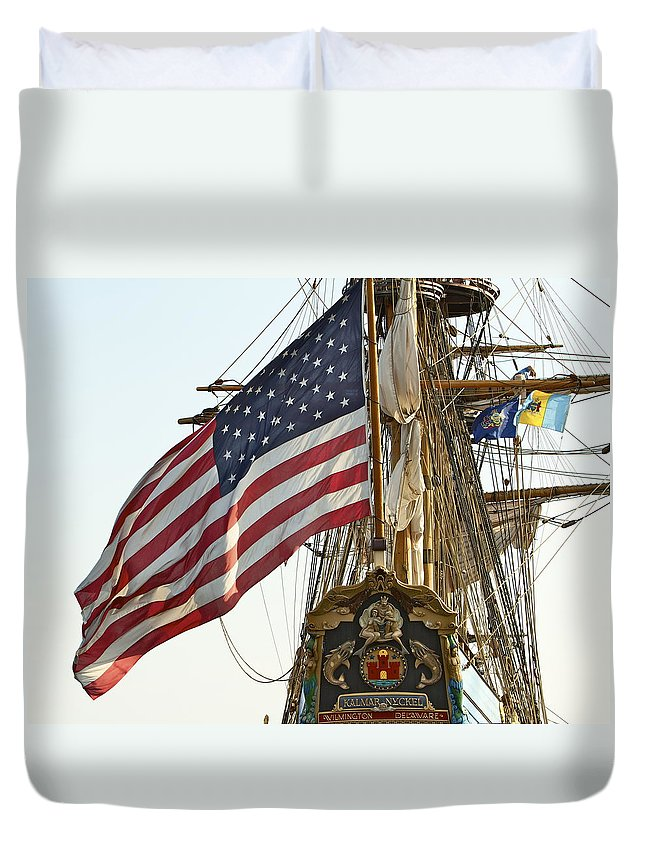 Kalmar Nyckel American Flag Tall Ship Wilmington Delaware Penns Landing Philadelphia Duvet Cover featuring the photograph Kalmar Nyckel American Flag by Alice Gipson