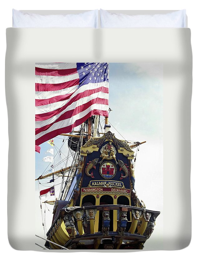 Ornate Carved Wood Stern Duvet Cover featuring the photograph Kalmar Nyckel Tall Ship by Sally Weigand