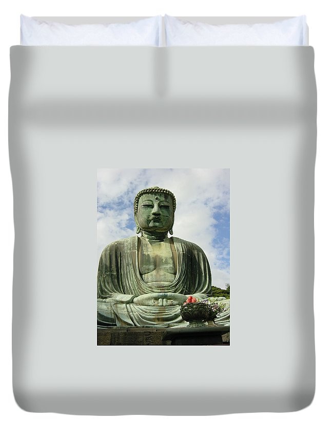 Buddha Duvet Cover featuring the photograph Kamakura Daibutsu by D Turner