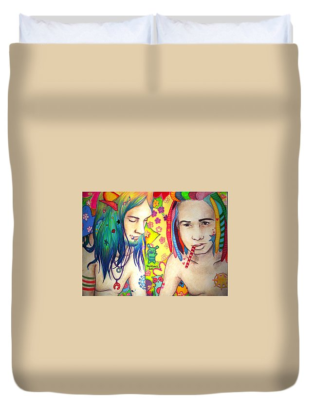 Colours Duvet Cover featuring the drawing Kamil And Louis by Freja Friborg