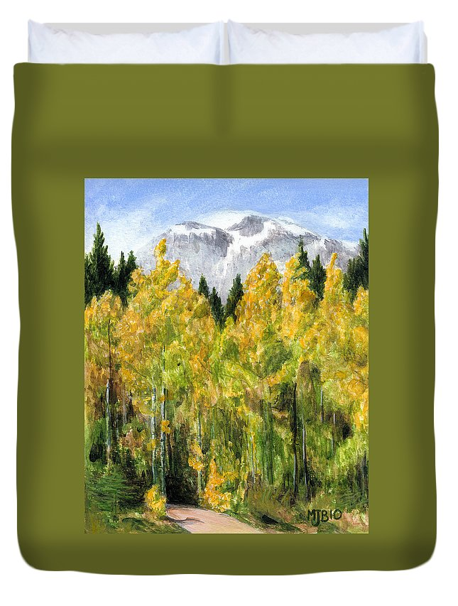 Landscape Duvet Cover featuring the painting Kananaskis Autumn Morn by Michael Beckett