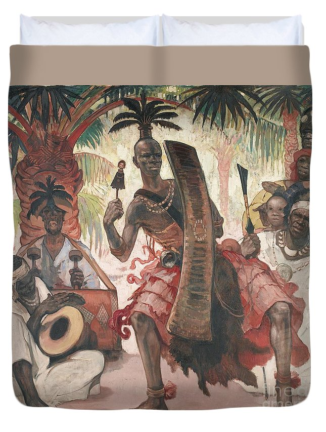 Fernand Allard-l'olivier.le Fou Du Chef (kanda-kanda). Tournai 1883 - 1933 Yanong� (za�re) Duvet Cover featuring the painting Kanda-kanda by Celestial Images