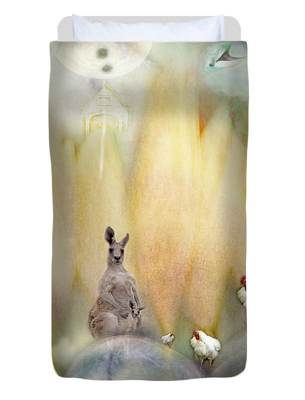 Kangaroo Duvet Cover featuring the photograph Kanga by Karen Divine