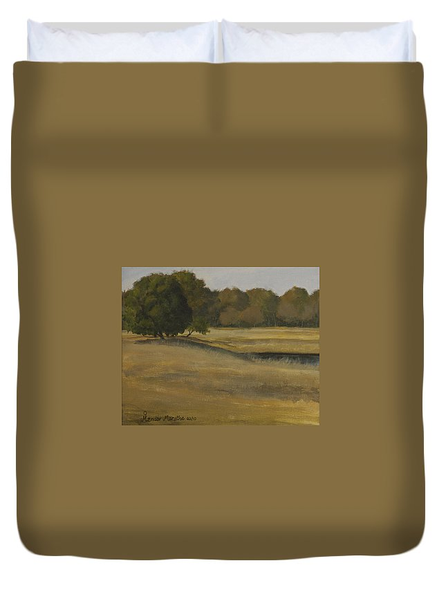 Landscape Duvet Cover featuring the painting Kanha Meadows by Mandar Marathe