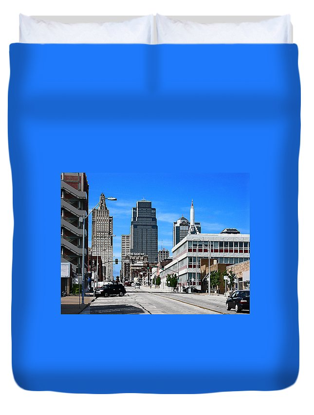City Scape Duvet Cover featuring the photograph Kansas City Cross Roads by Steve Karol
