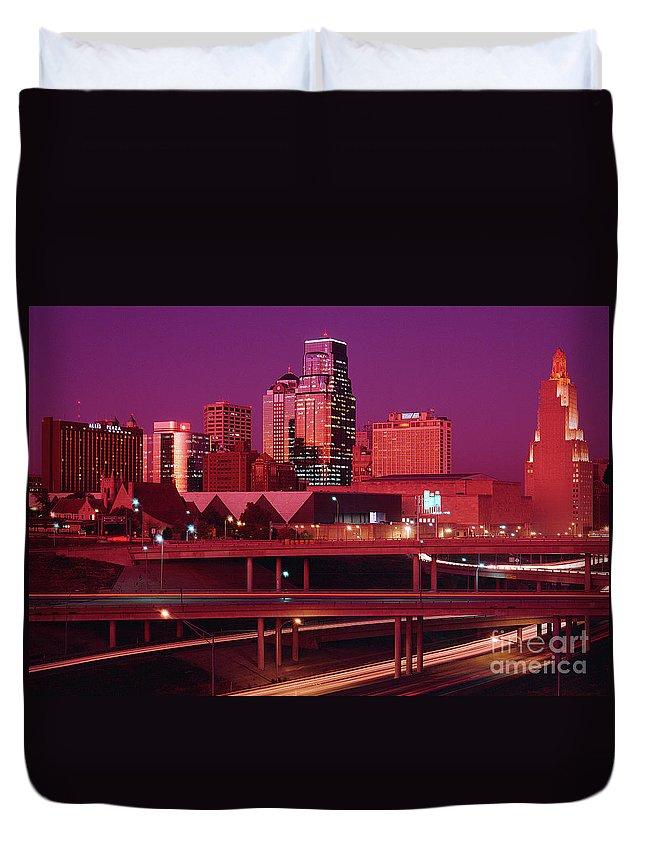 Kansas City Skyline 1991 Duvet Cover featuring the photograph Kansas City Skyline 1991 by Gary Gingrich Galleries