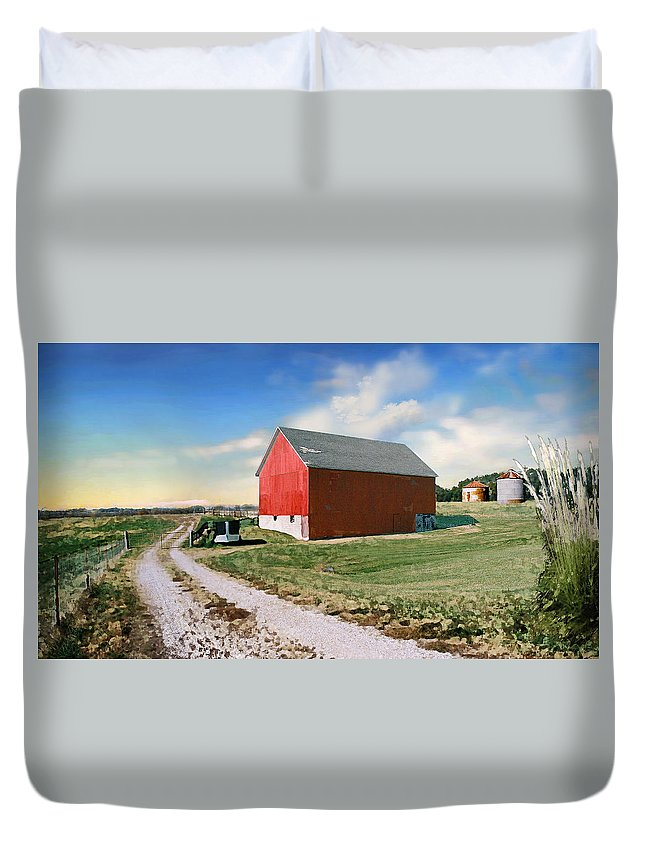 Barn Duvet Cover featuring the photograph Kansas Landscape II by Steve Karol