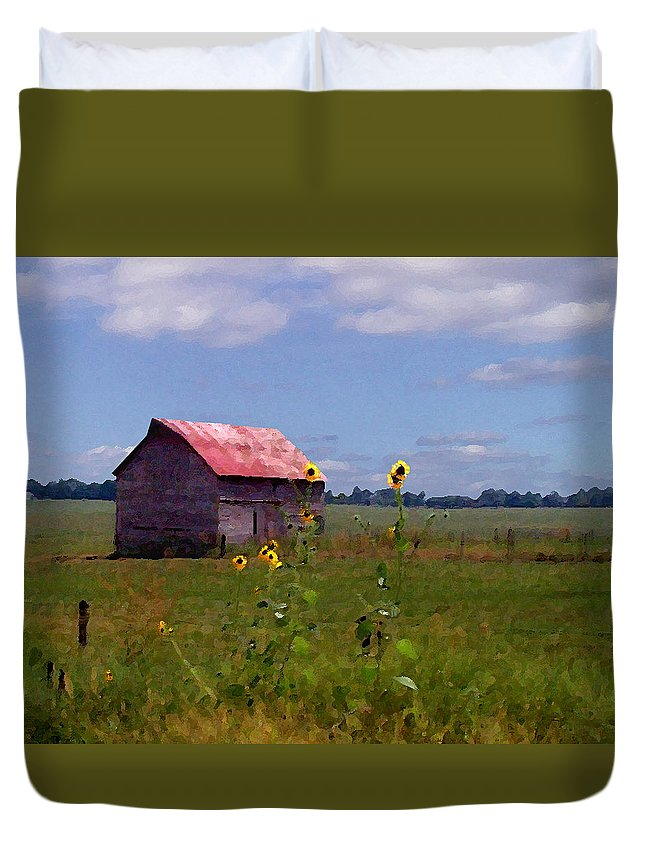 Landscape Duvet Cover featuring the photograph Kansas Landscape by Steve Karol