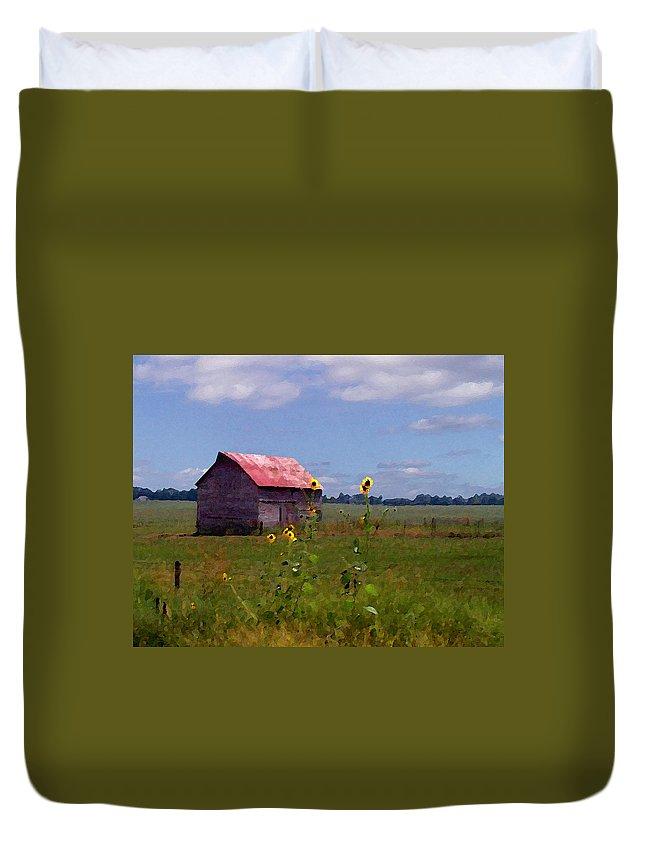 Lanscape Duvet Cover featuring the photograph Kansas Landscape by Steve Karol