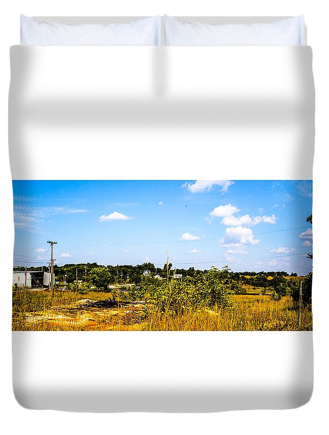 Route 66 Duvet Cover featuring the photograph Kansas Scrub by Angus Hooper Iii