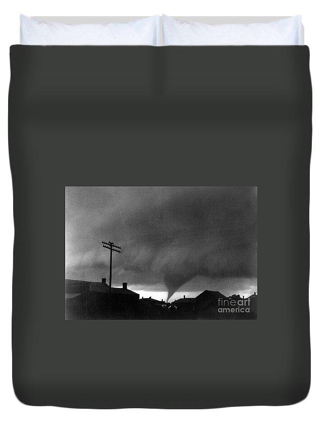 1902 Duvet Cover featuring the photograph Kansas: Tornado, C1902 by Granger