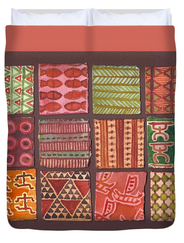 Hawaii Duvet Cover featuring the painting Kapa Squares 2 by Cynthia Conklin