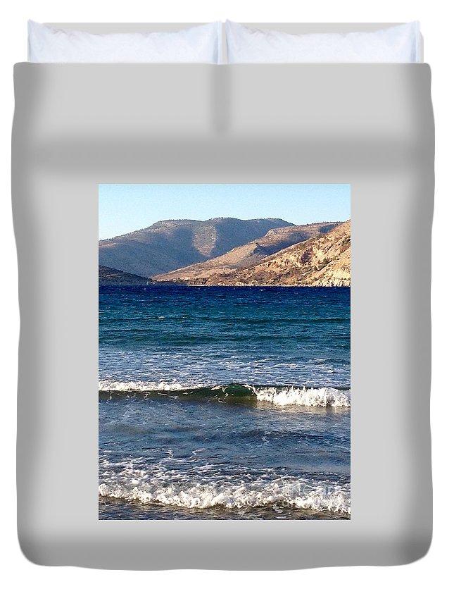 Mediterranian Sea Duvet Cover featuring the digital art Kardamila Chios Greece by Viktoriya Sirris