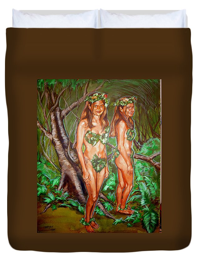 Fairy Duvet Cover featuring the painting Karen M Times Two At Dragoncon by Bryan Bustard