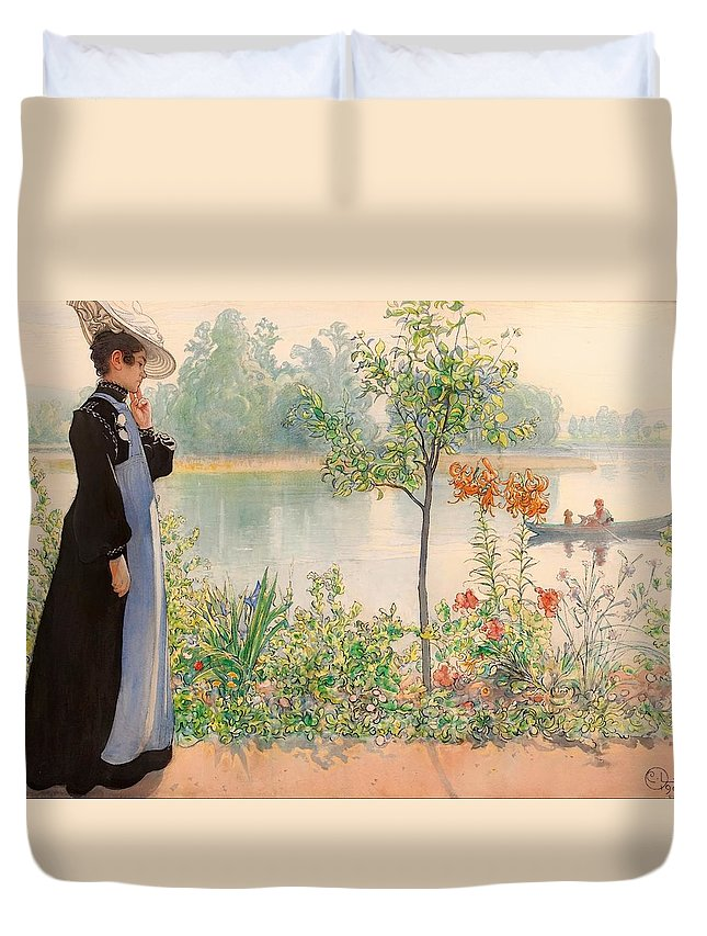 Painting Duvet Cover featuring the painting Karin By The Shore by Mountain Dreams