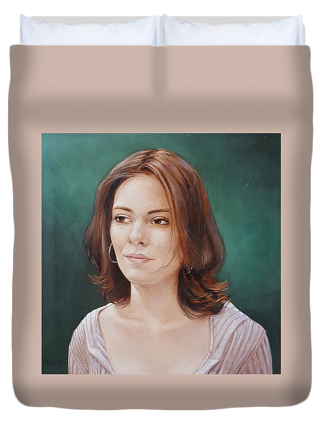 Portrait Of A Beautiful Young Lady Duvet Cover featuring the painting Karissa Bishop by Jerrold Carton