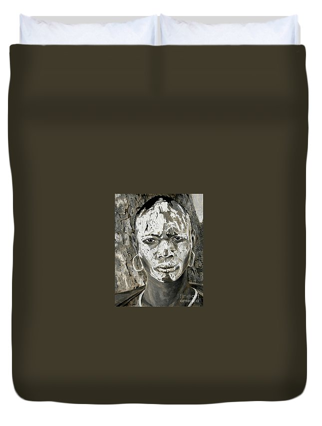 Tribal Art Duvet Cover featuring the painting Karo Man by Portraits By NC