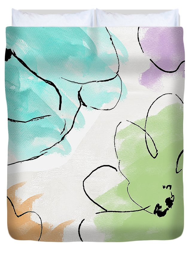 Abstract Duvet Cover featuring the painting Kasumi by Mindy Sommers