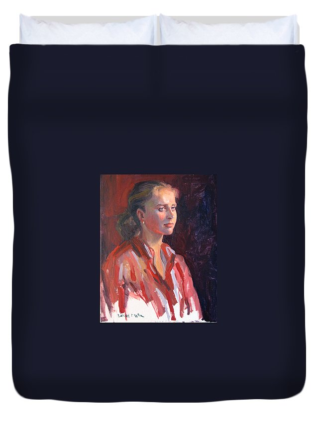 Portrait Duvet Cover featuring the painting Kate by Dianne Panarelli Miller