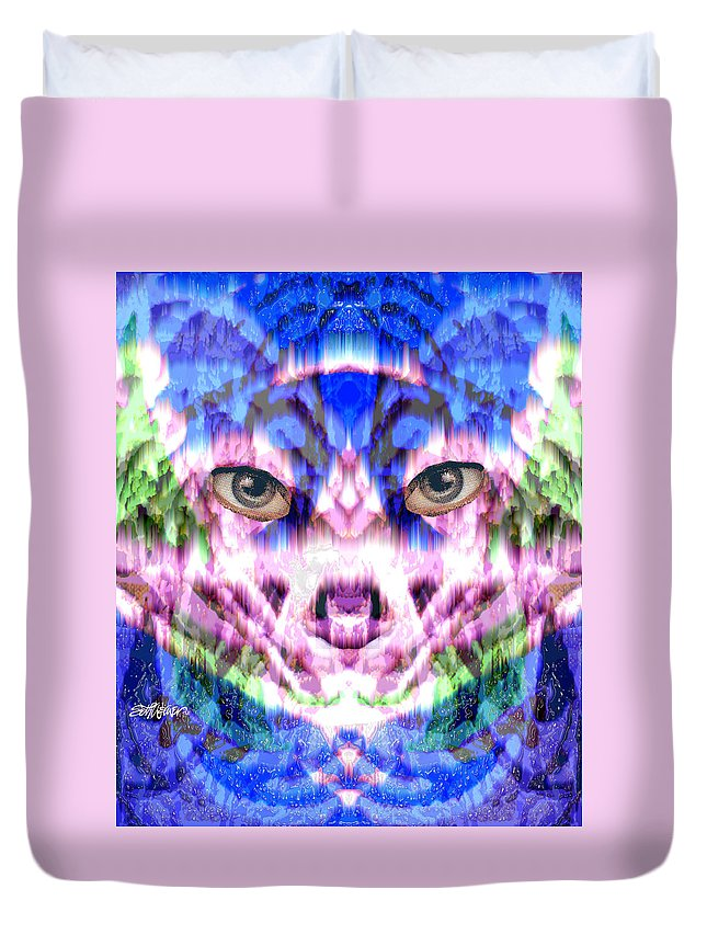 Cat Duvet Cover featuring the digital art Katechism by Seth Weaver