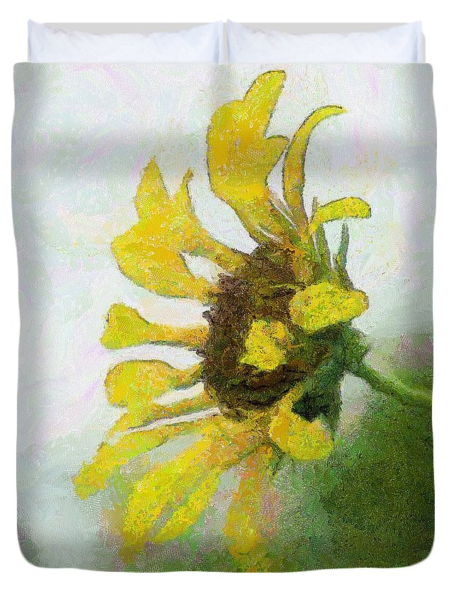 Sunflower Duvet Cover featuring the painting Kate's Sunflower by Jeffrey Kolker