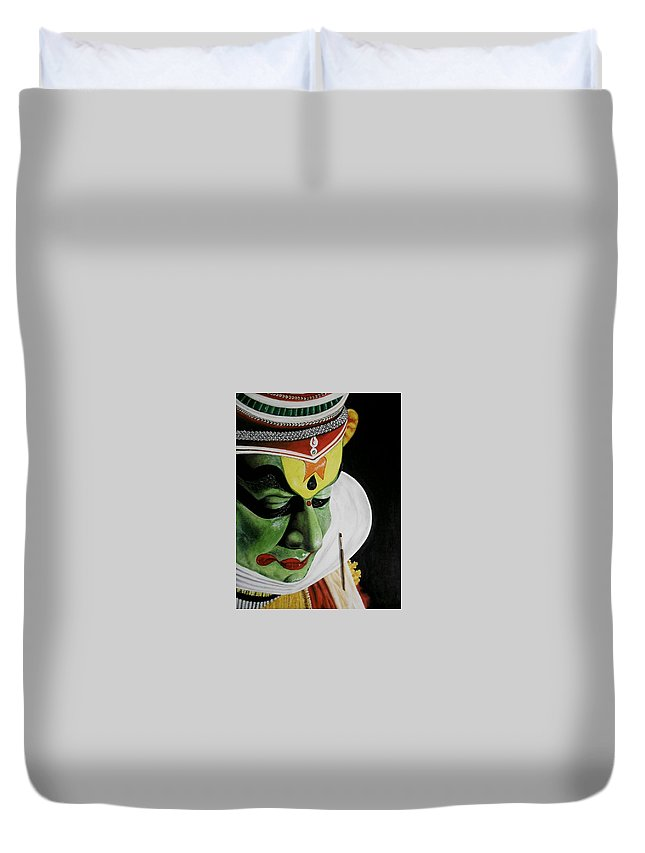 Acrylic And Pastel On Paper Duvet Cover featuring the painting kATHAKALI PAINTING REALISTIC by Sanooj Kakkayangad