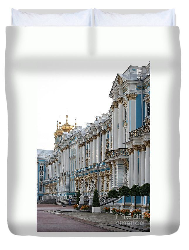 Palace Duvet Cover featuring the photograph Katharinen Palace And Onion Domes - Russia by Christiane Schulze Art And Photography