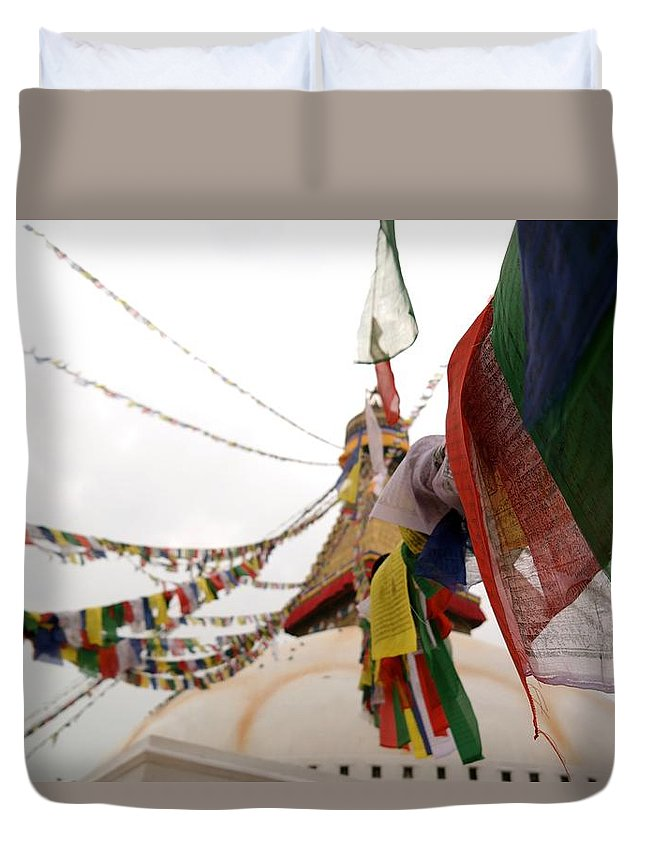 Nepal Duvet Cover featuring the photograph Kathmandu Temple Two by Lloyd Southam Sebire