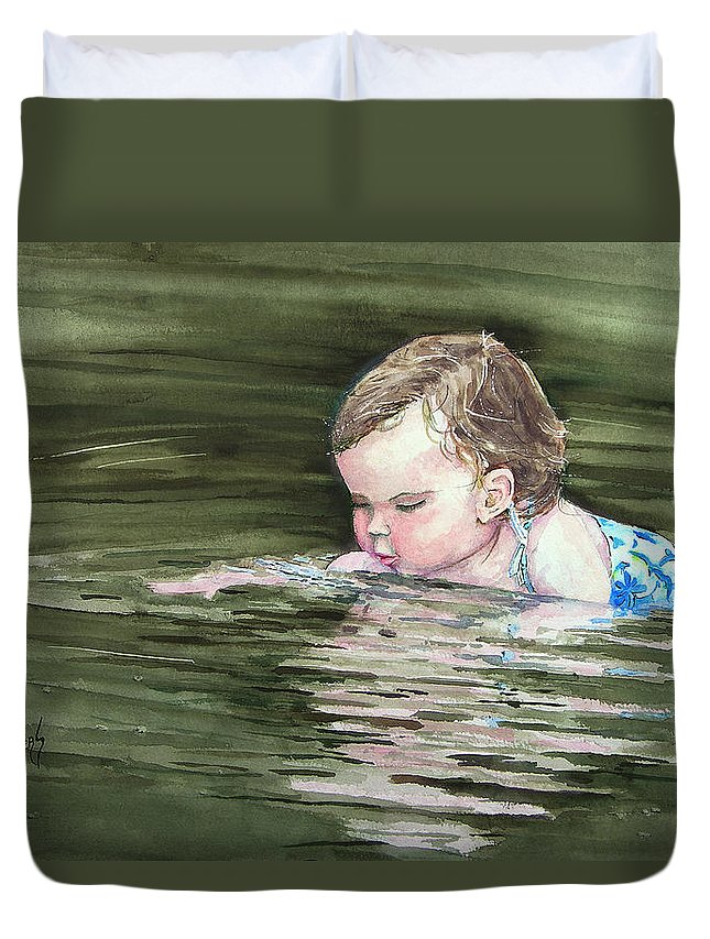 Child In River Duvet Cover featuring the painting Katie Wants A River Rock by Sam Sidders
