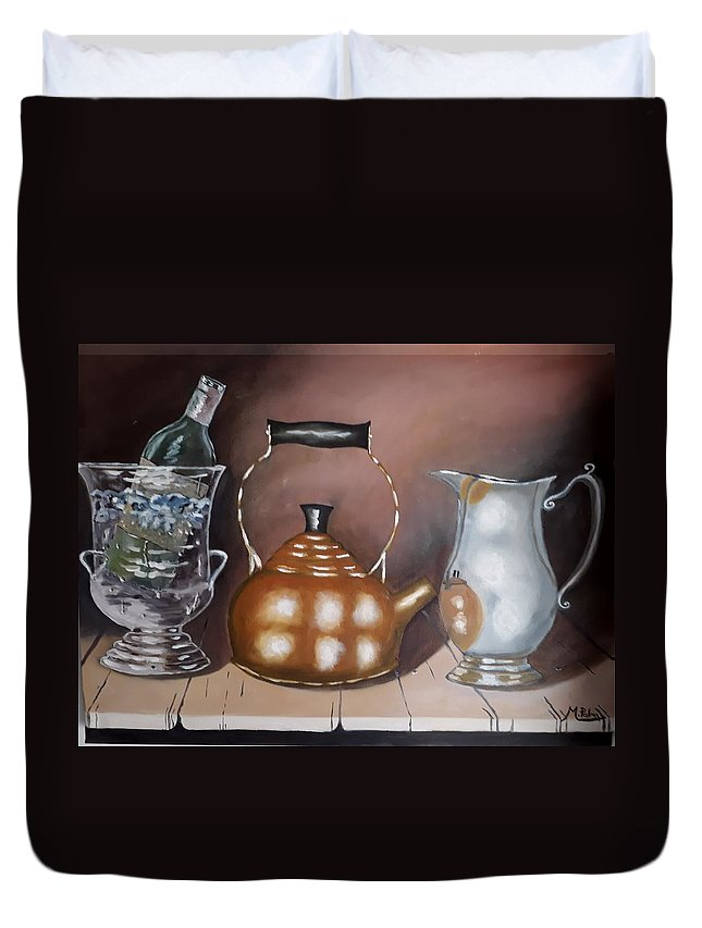 Copper Kettle Duvet Cover featuring the painting Kattle And Ice Bucket by Mario Palma