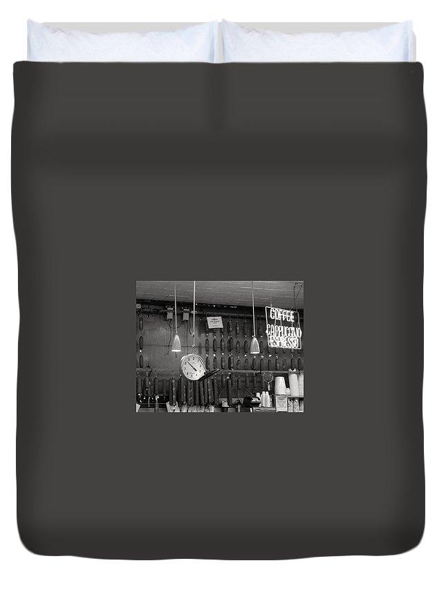 Deli Duvet Cover featuring the photograph Katz Deli by Debbi Granruth