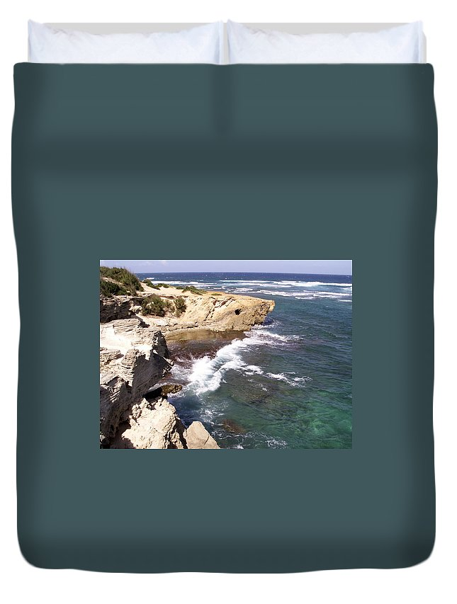 Kauai Duvet Cover featuring the photograph Kauai Coast With Shark Outcrop by Amy Fose
