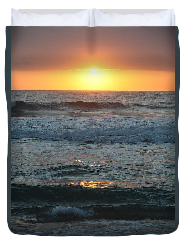 Kauai Duvet Cover featuring the photograph Kauai Sunrise by Nadine Rippelmeyer