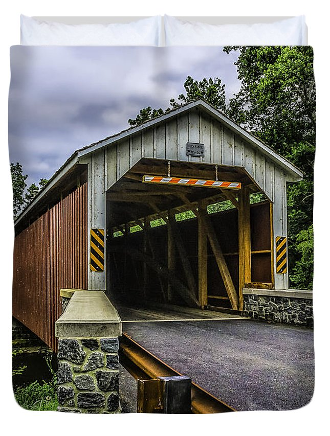 Distillery Duvet Cover featuring the photograph Kaufman Covered Bridge - Pa by Nick Zelinsky