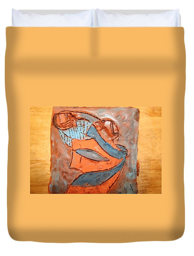 Jesus Duvet Cover featuring the ceramic art Kaweeke - Tile by Gloria Ssali