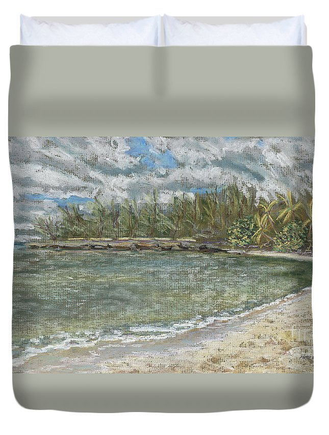 Art Duvet Cover featuring the pastel Kawela Bay by Patti Bruce - Printscapes
