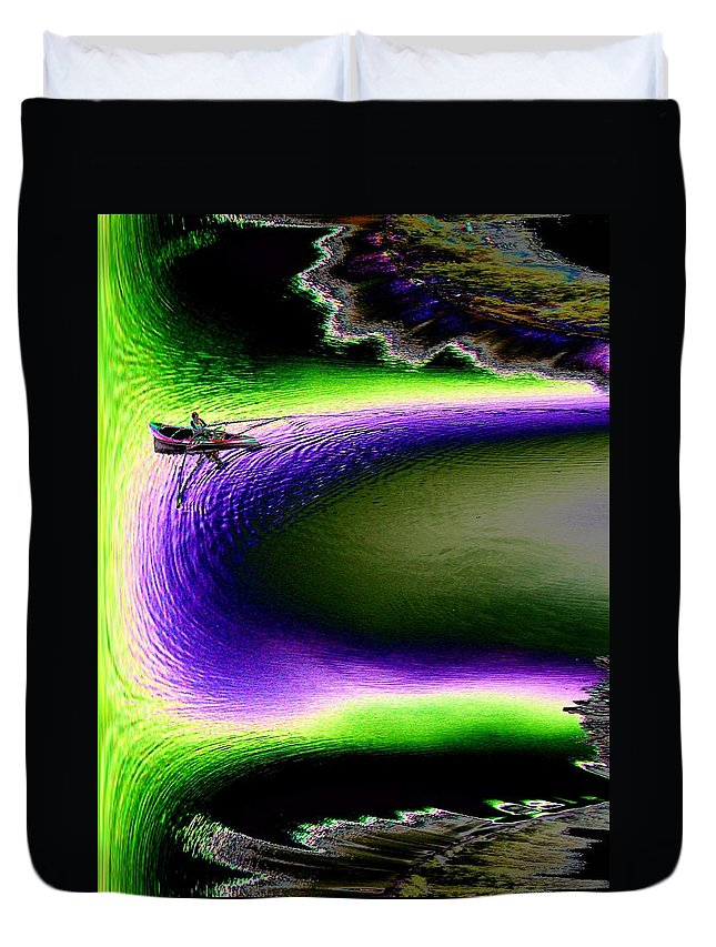 Seattle Duvet Cover featuring the digital art Kayak In The Cut by Tim Allen