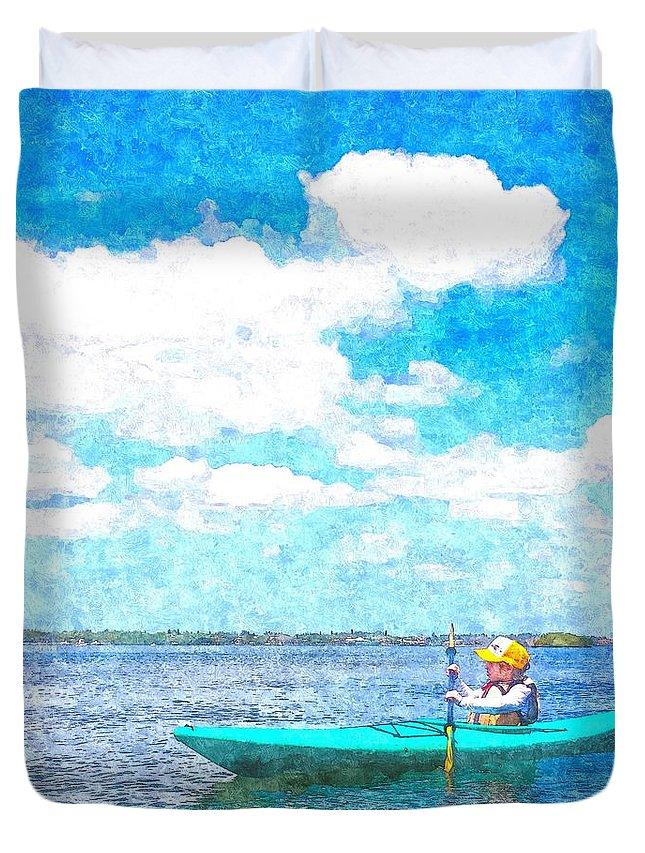 susan Molnar Duvet Cover featuring the photograph Kayak Lesson by Susan Molnar