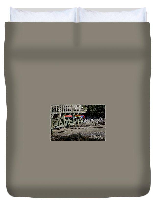 Kayak Duvet Cover featuring the photograph Kayak Rack by Faith Harron Boudreau