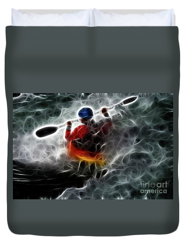Kayak Duvet Cover featuring the photograph Kayaking In The Zone 3 by Bob Christopher