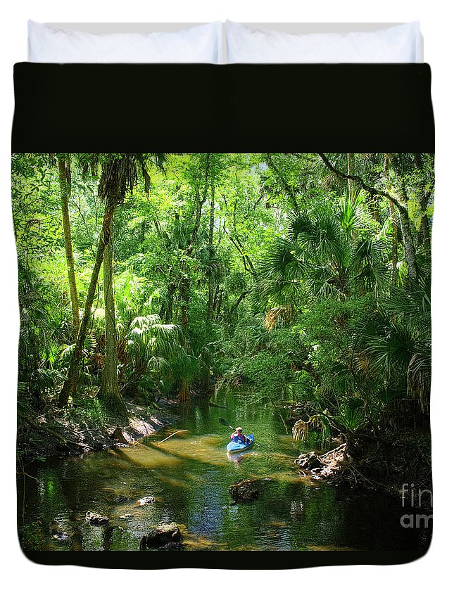 Photographs Duvet Cover featuring the photograph Kayaking In Tropical Paradise by Felix Lai